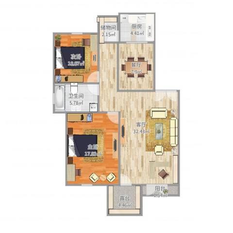 果岭假日2室2厅1卫1厨108.00㎡户型图