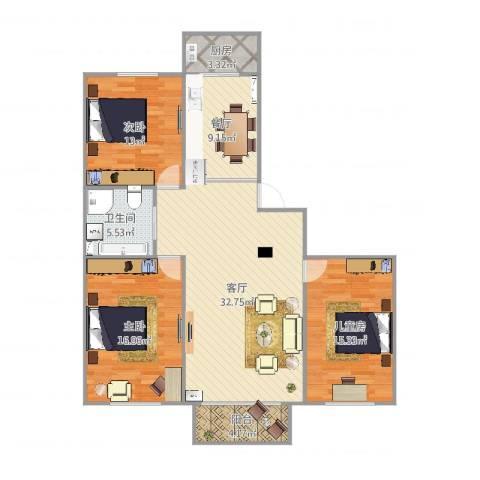 天河家园—祥和苑3室2厅1卫1厨125.00㎡户型图