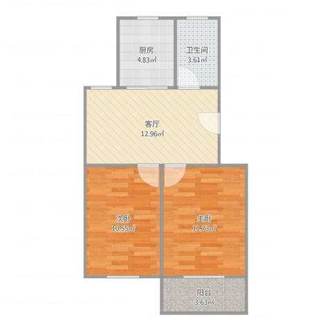 宏葑二村2室1厅1卫1厨59.00㎡户型图