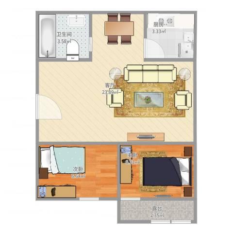西凌家宅2室1厅1卫1厨63.00㎡户型图