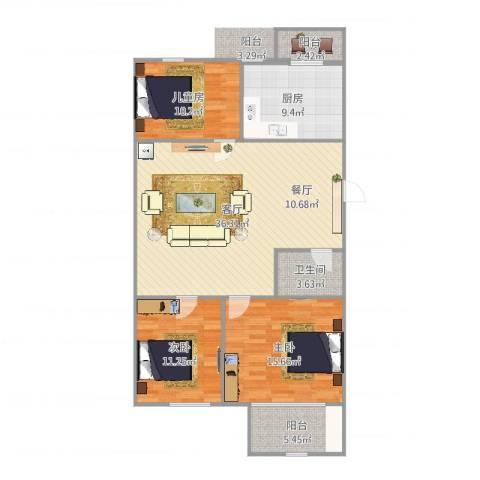 龙跃苑东四区3室1厅1卫1厨118.00㎡户型图