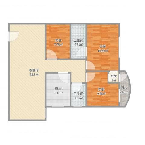 交警宿舍3室2厅2卫1厨110.00㎡户型图