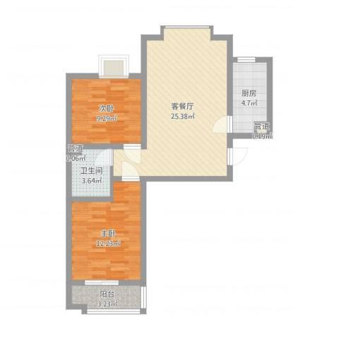 龙溪城2室2厅1卫1厨73.00㎡户型图