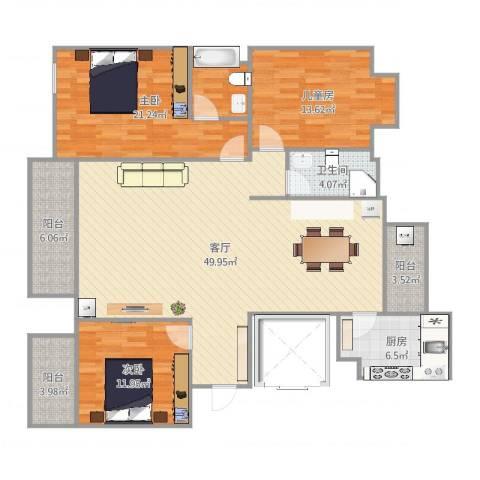 新方嘉园3室1厅1卫1厨151.00㎡户型图