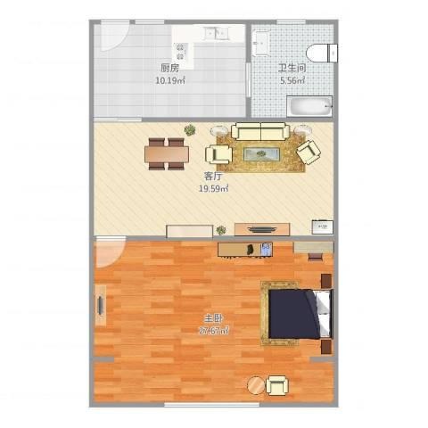 上焊大楼1室1厅1卫1厨84.00㎡户型图