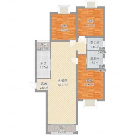 绿海印象3室2厅2卫1厨118.00㎡户型图