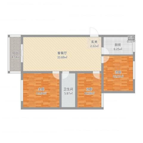 丽华甲第苑3室2厅1卫1厨127.00㎡户型图