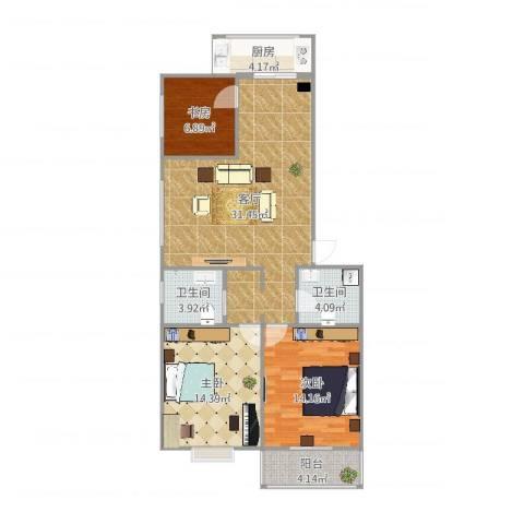 华新园3室1厅2卫1厨104.00㎡户型图