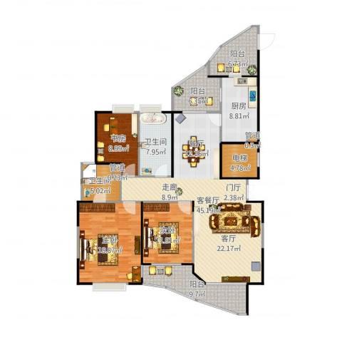 盛世钱塘3室2厅2卫1厨170.00㎡户型图
