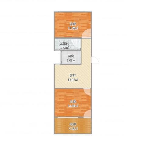 汇成三村2室1厅1卫1厨71.00㎡户型图