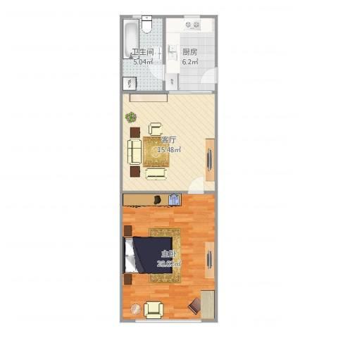控江五村1室1厅1卫1厨62.00㎡户型图