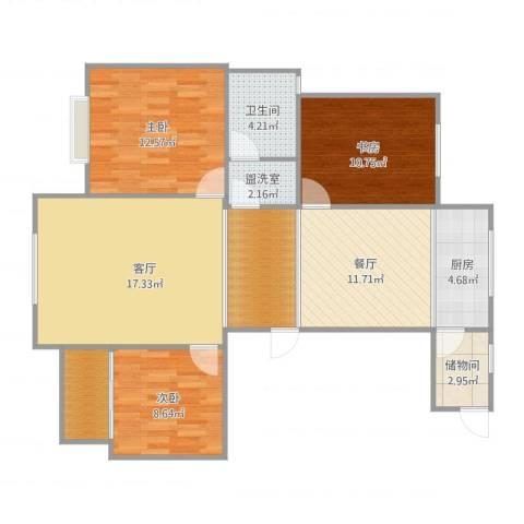 顺海城市花园3室2厅2卫1厨109.00㎡户型图