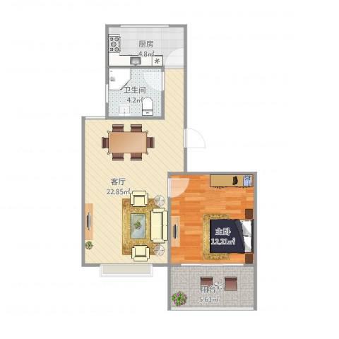 新芦苑1室1厅1卫1厨67.00㎡户型图