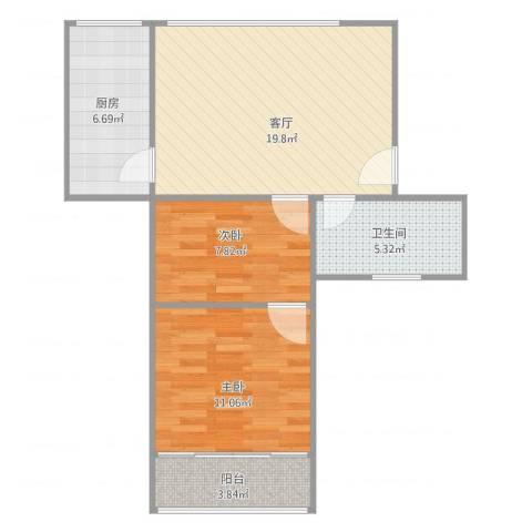泰和新城2室1厅1卫1厨74.00㎡户型图