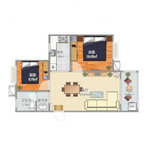旭辉悦庭2室3厅1卫1厨63.00㎡户型图