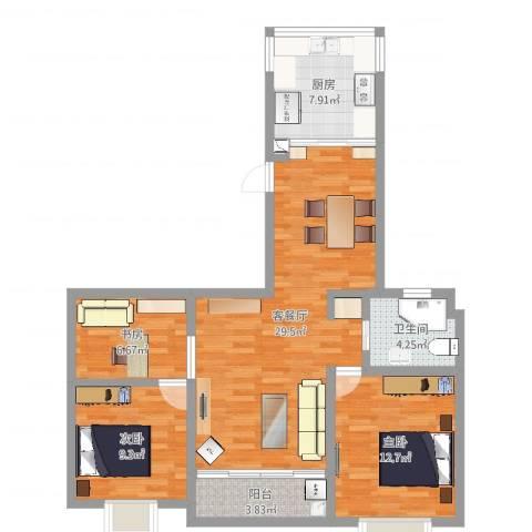 中邦城市3室2厅1卫1厨93.00㎡户型图