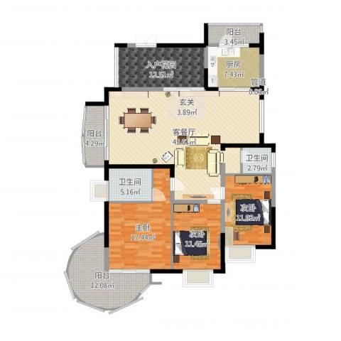 新世纪丽江豪园四期3室2厅2卫1厨168.00㎡户型图
