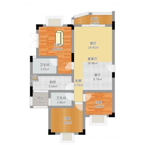 银海峰景3室2厅2卫1厨92.00㎡户型图