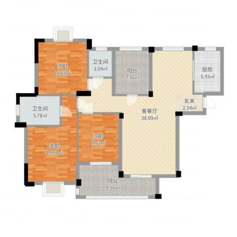 现代明珠新城加州国际3室2厅2卫1厨134.00㎡户型图
