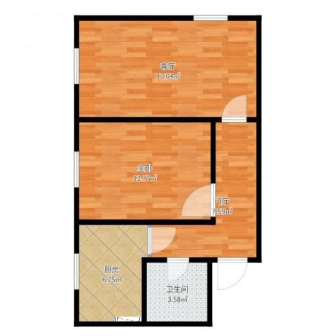 三里河三区1室1厅1卫1厨59.00㎡户型图