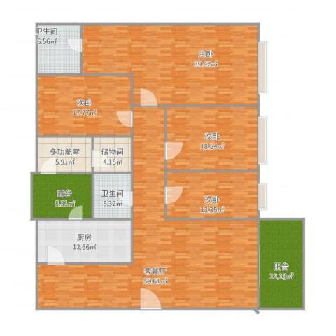 嘉信城市花园三期4室2厅2卫1厨270.00㎡户型图