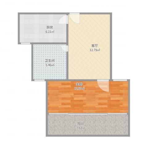 荣和怡景园1室1厅1卫1厨60.00㎡户型图