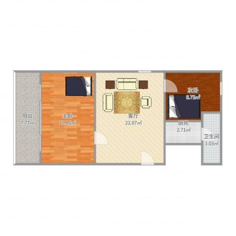 石路基小区2室1厅1卫1厨83.00㎡户型图