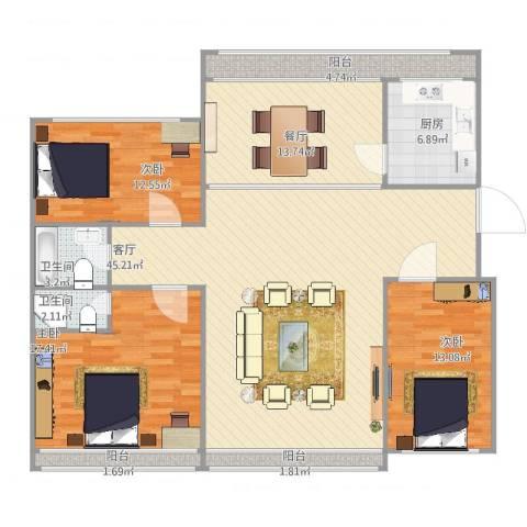 兴平昌苑3室2厅2卫1厨132.00㎡户型图