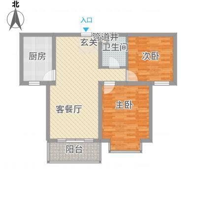 黄金海岸90.00㎡黄金海岸户型图B-2户型2室2厅1卫1厨户型2室2厅1卫1厨-副本