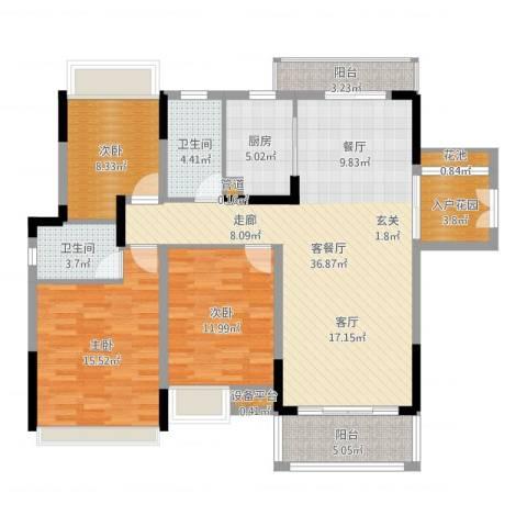 美丽湾畔花园3室2厅2卫1厨124.00㎡户型图
