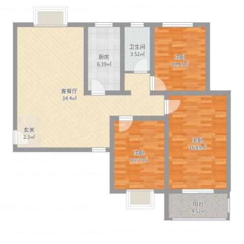 金都花园3室2厅1卫1厨108.00㎡户型图