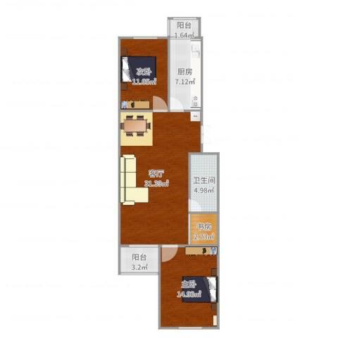 龙锦苑东五区3室1厅1卫1厨96.00㎡户型图