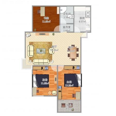水木清华3室1厅1卫1厨101.00㎡户型图