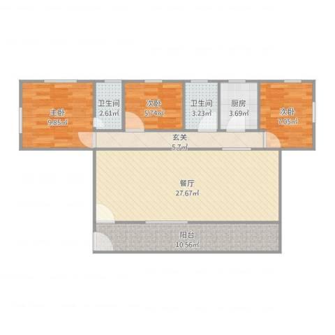 锦绣二村3室1厅2卫1厨95.00㎡户型图