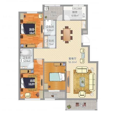 常青藤小城2室2厅3卫1厨157.00㎡户型图