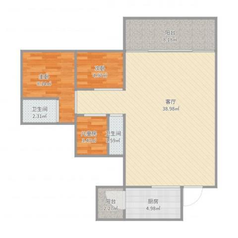 保利拉菲3室1厅2卫1厨101.00㎡户型图