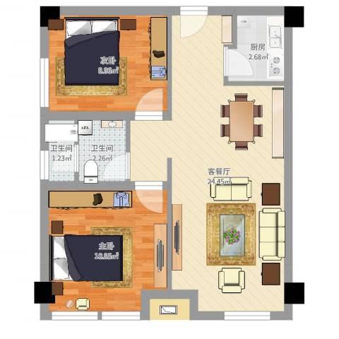 中央花园小区2室2厅2卫1厨63.00㎡户型图