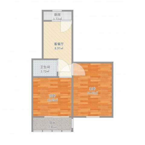 马军弄2室2厅1卫1厨52.00㎡户型图