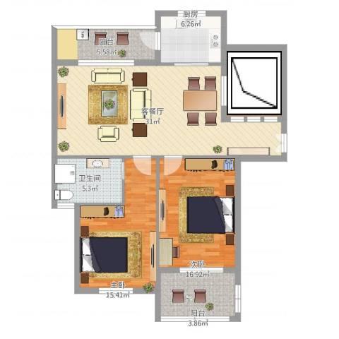 浅水湾蔚蓝水岸2室2厅1卫1厨114.00㎡户型图