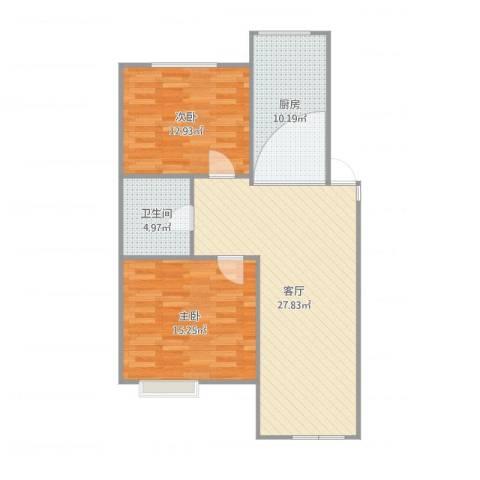 马南里小区二号楼2室1厅1卫1厨80.00㎡户型图