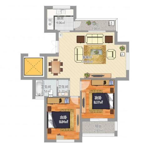 浅水湾蔚蓝水岸2室2厅2卫1厨71.00㎡户型图