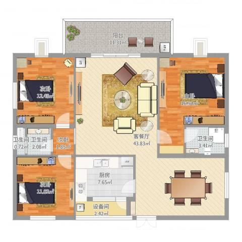 联丰北区4室2厅3卫1厨142.00㎡户型图
