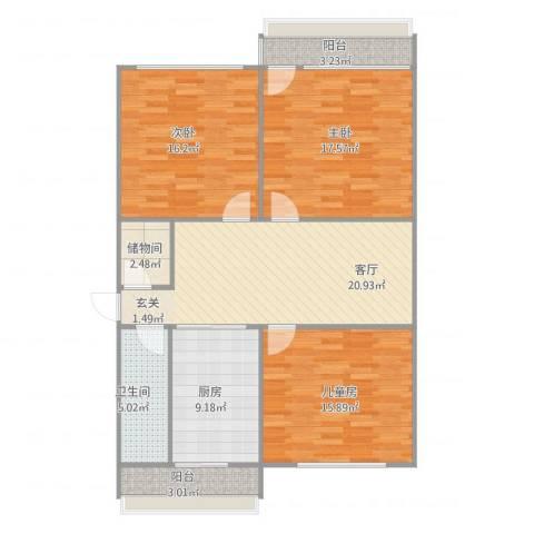 省团委宿舍3室1厅1卫1厨126.00㎡户型图