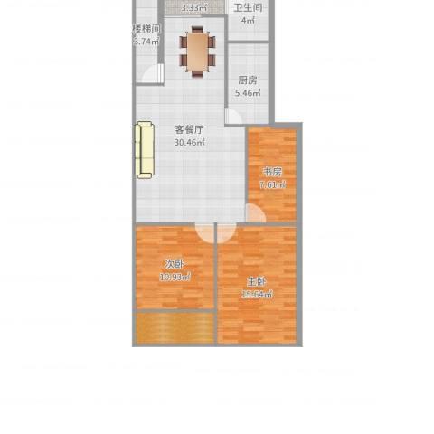 滨江花园3室2厅1卫1厨107.00㎡户型图