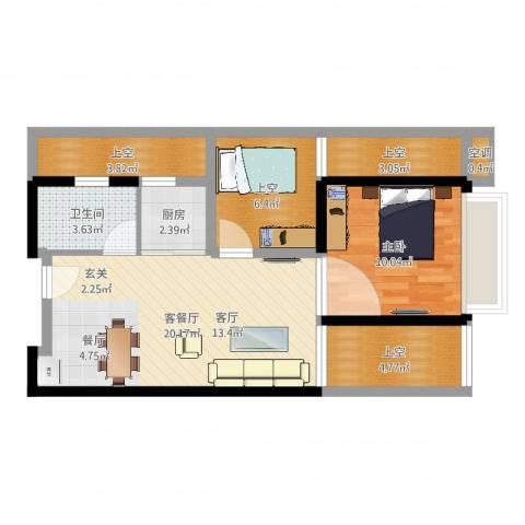 尚书银座1室2厅1卫1厨68.00㎡户型图