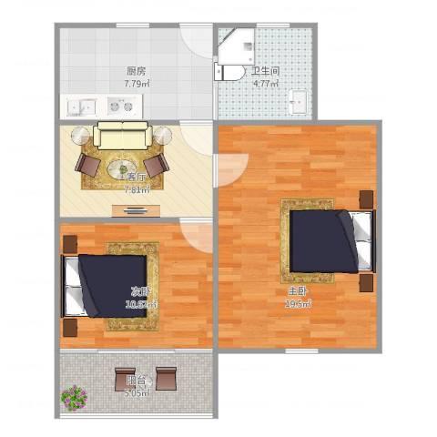 双山小区18-2042室1厅1卫1厨60.00㎡户型图