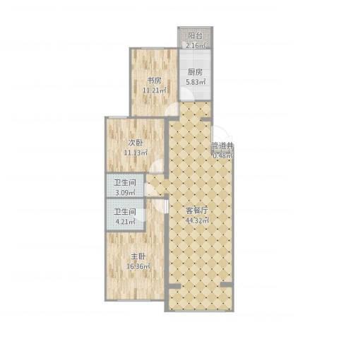 龙锦苑东一区3室2厅2卫1厨125.00㎡户型图