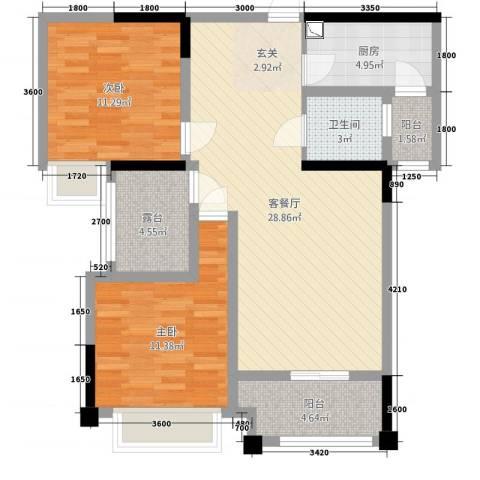 阳光西雅图2室2厅1卫1厨95.00㎡户型图