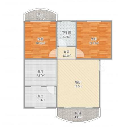 龙福花园2室2厅1卫1厨84.00㎡户型图