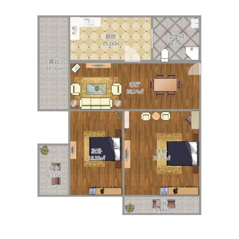 邮通小区2室1厅1卫1厨151.00㎡户型图